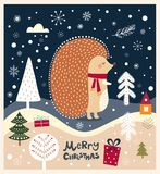 Hedgehog is in winter forest Royalty Free Stock Photos