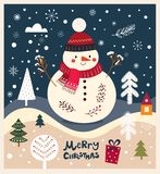 Little snowman is in winter forest Royalty Free Stock Photography