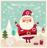 Little Santa is in winter forest Royalty Free Stock Photography
