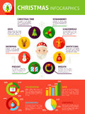 Christmas Holiday Infographics. Flat Design Vector Illustration of Winter Concept with Text Stock Images