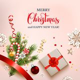 Christmas holiday light background. Green fir tree branches on holiday background. Natural design elements. Festive background with festive decorations and Merry Royalty Free Illustration