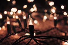 Christmas Holiday Lights with blurred background Royalty Free Stock Photography