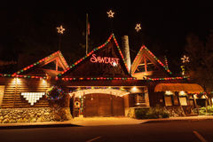 Christmas holiday lights at the Laguna Sawdust Arts Festival Royalty Free Stock Images