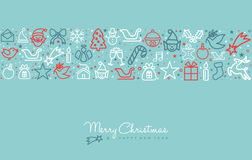 Christmas holiday line art icon greeting card Royalty Free Stock Image