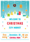 Christmas Holiday Market or Fair Poster with Snowy Winter Town Landscape, Trees and Gingerbread Cookies Garland. Vector Illustration Stock Photo