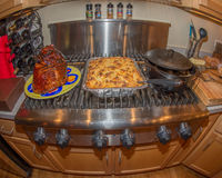 Christmas Holiday meal on the stove Royalty Free Stock Photography