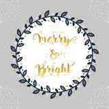 Christmas and Holiday Merry & Bright navy blue floral circle border decoration emblem Stock Photo