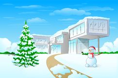 Christmas holiday modern house winter snow. Snowman and pine tree vector illustration Royalty Free Stock Photo