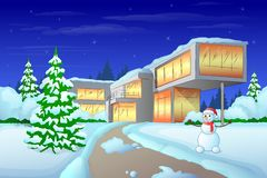 Christmas holiday modern house winter snow,. Snowman and pine tree vector illustration Royalty Free Stock Photos