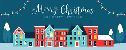 Christmas holiday night city winter greeting card. Merry Christmas and Happy New Year web banner illustration of cute houses in winter season. Holiday city at vector illustration