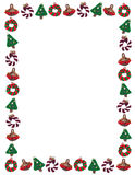 Christmas Holiday Ornament Border. Holiday frame of decorative, handmade, fiber ornaments including two wreaths, a basket of pine cones and a trimmed Christmas Royalty Free Stock Photography
