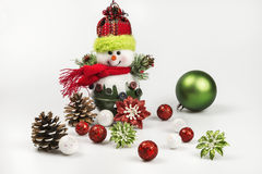 Christmas holiday ornaments and baubles on a white background Royalty Free Stock Photography