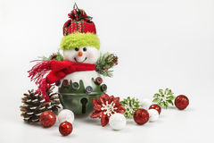 Christmas holiday ornaments and baubles on a white background Royalty Free Stock Images