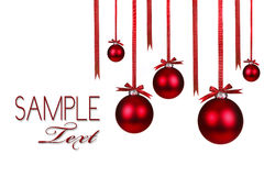 Christmas Holiday Ornaments Hanging With Bows Royalty Free Stock Photo