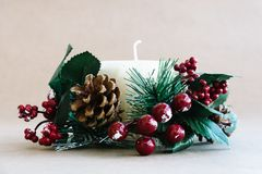 Christmas holiday ornaments on rustic background royalty free stock photo