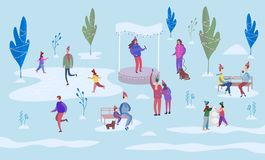 Christmas holiday outdoor. People ice skating on the rink and walking between decorated trees. Sit on park benches and walk with vector illustration