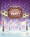 Christmas Holiday Party Flyer background with evening winter landscape. vector illustration