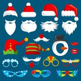 Christmas holiday photo booth props vector collection.. Christmas holiday photo booth props vector collection. Xmas santa party photography prop set. Xmas Stock Image