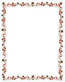 Christmas & Holiday Pine Cone & Ribbon Frame. Gold toned pine cones and red ribbons fashion a lively holiday frame. Tiny, foil wrapped gifts adorn the Stock Photography