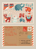 Christmas holiday post card and envelope with cute stamps Royalty Free Stock Images