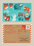 Christmas holiday post card and envelope with cute stamps Royalty Free Stock Image
