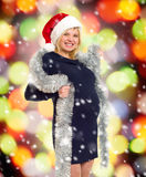 Christmas holiday pregnant woman in santa hat Royalty Free Stock Photography