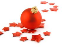 Christmas holiday red ball with stars isolated Royalty Free Stock Photo