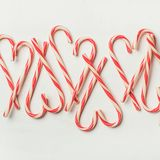 Christmas holiday candy cane pattern, texture and background, square crop Royalty Free Stock Photo