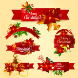 Christmas holiday red ribbon banner and label set. Christmas red ribbon banner and label set with holly berry, fir and pine branches, gift box with ribbon bow Stock Photos