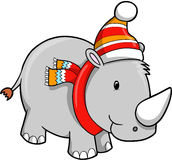 Christmas Holiday Rhino Stock Images