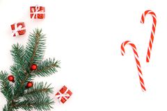 Christmas holiday`s composition. Christmas gifts. Copy space. royalty free stock photos
