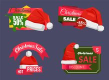 Christmas Holiday Sale Badges Vector Illustration. Set of Christmas holiday sale badges or stickers with Santa Claus hat and lettering on colourful tags vector vector illustration