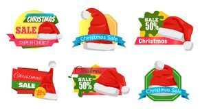 Christmas Holiday Sale Badges Vector Illustration. Set of Christmas holiday sale badges or stickers with Santa Claus hat and lettering on colourful tags royalty free illustration