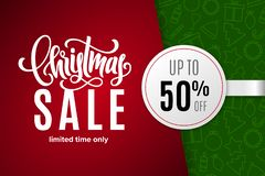 Christmas holiday sale 50 percent off with paper sticker on background with icons. Limited time only. Template for a banner, poster, shopping, discount royalty free illustration