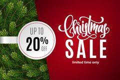 Christmas holiday sale 20 percent off with paper sticker on red background with fir tree branches. Limited time only. Template for a banner, poster, shopping stock illustration