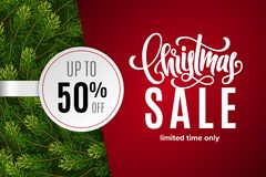 Christmas holiday sale 50 percent off with paper sticker on red background with fir tree branches. Limited time only. Template for a banner, poster, shopping vector illustration