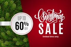 Christmas holiday sale 60 percent off with paper sticker on red background with fir tree branches. Limited time only. Template for a banner, poster, shopping stock illustration