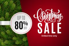 Christmas holiday sale 80 percent off. With paper sticker on red background with fir tree branches. Limited time only. Template for a banner, poster, shopping vector illustration