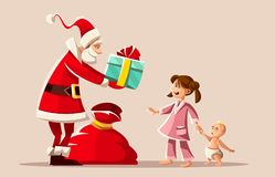 Christmas holiday. Santa Claus and kids vector illustration