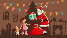 Christmas holiday. Santa Claus and kids Vector Illustration