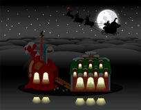 Christmas holiday polar night scene. Royalty Free Stock Photos