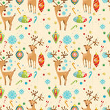 Christmas holiday seamless pattern with reindeer, snowflakes and. Toys. Hand drawing  illustration for card or wrapping paper desigh Stock Image