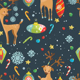 Christmas holiday seamless pattern with reindeer, snowflakes and. Toys. Hand drawing  illustration for card or wrapping paper desigh Stock Images