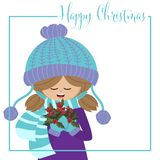 Christmas holiday season background with Cute girl in winter custom with holly berry branch and Merry Christmas text. Christmas holiday season background with royalty free illustration