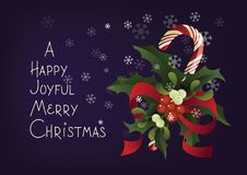 Christmas seasonal greeting card with candy cane. A Happy Joyful Merry Christmas Royalty Free Stock Photography