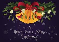 Christmas seasonal greeting card A Happy Joyful Merry Christmas and Jingle bells Royalty Free Stock Photo