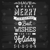 Christmas and Holiday Season Greetings chalkboard. EPS-10 vector with transparency stock illustration