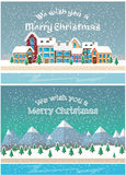 Christmas holiday season. Small town in snowfall. City and mountain landscape background. Vector illustration in flat style design. Cards and banners for vector illustration