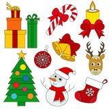 Christmas Holiday set, the collection of coloring book template, the group of outline digital elements. Christmas Holiday set elements set, collection of Stock Photography