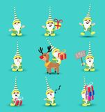 Christmas elf funny holiday cartoon set. Christmas holiday set of cute elf character cartoons in different poses and emotions. Includes reindeer, funny royalty free illustration